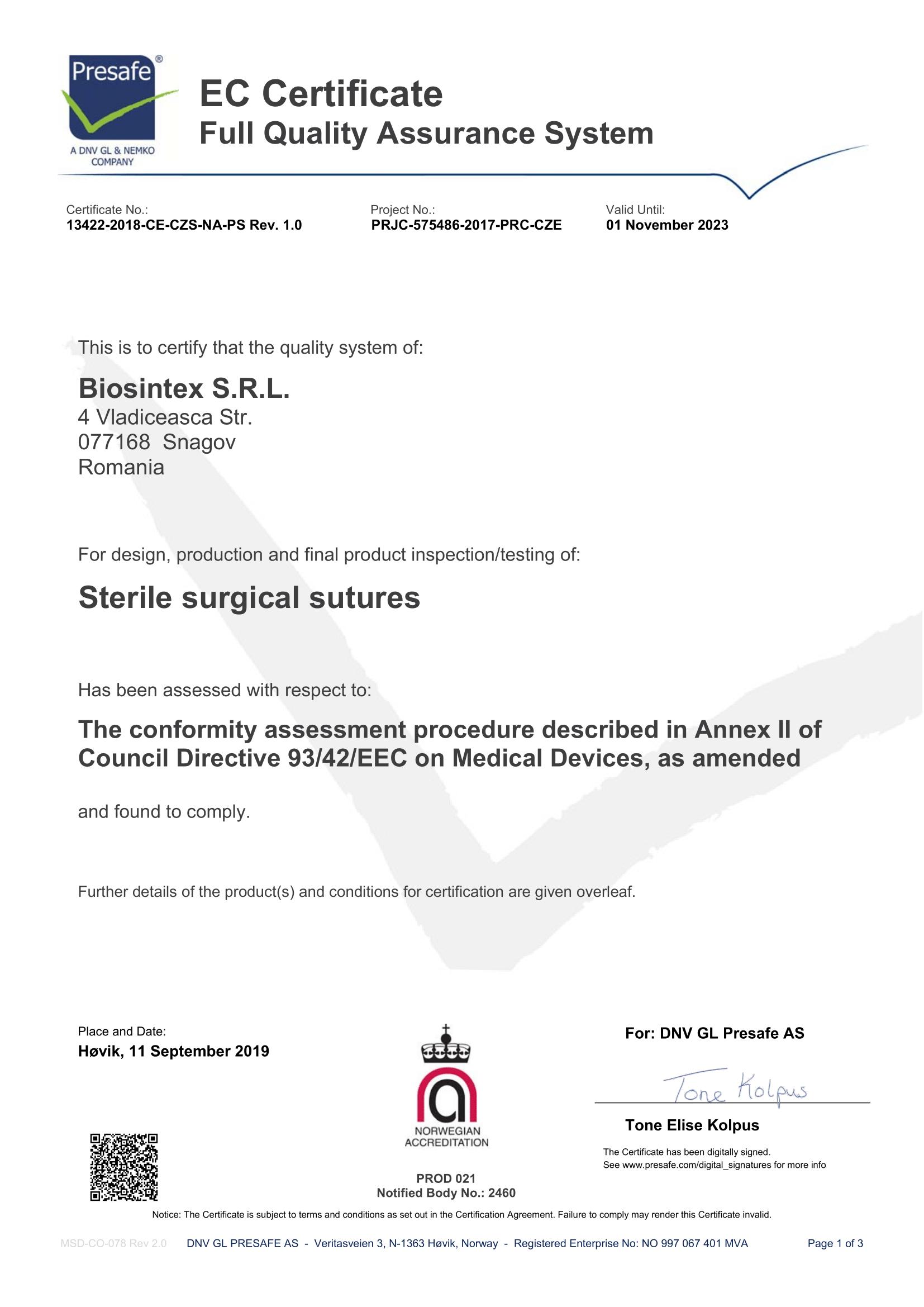 Certificates Biosintex